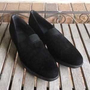 Stuart Weitzman Black Suede Leather Slip On Wedges